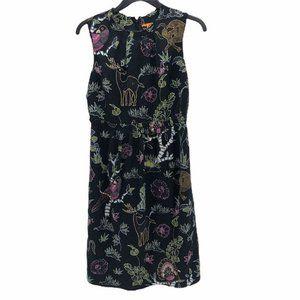 Tory Burch  Dress Black Floral Animal Print 6